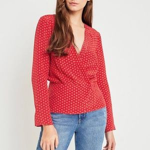 Urban Outfitters Red Long Sleeve Wrap Top